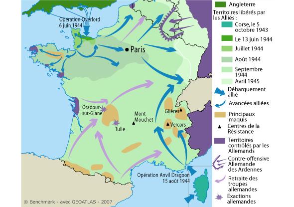 carte de france 2eme guerre mondiale