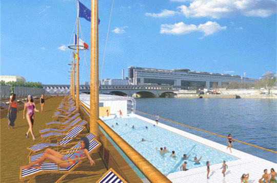 Piscine sur seine port de la gare quai fran ois mauriac 75013 paris - Piscine plage paris asnieres sur seine ...
