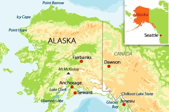 Voyager echapp e sauvage en alaska carte de l 39 alaska for Recherche hotel sur carte